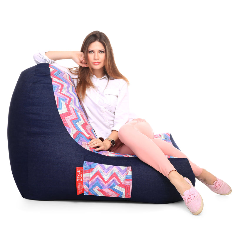 Style Homez Urban Design Denim Canvas Geometric Printed Chair Bean Bag XXL Size Cover Only