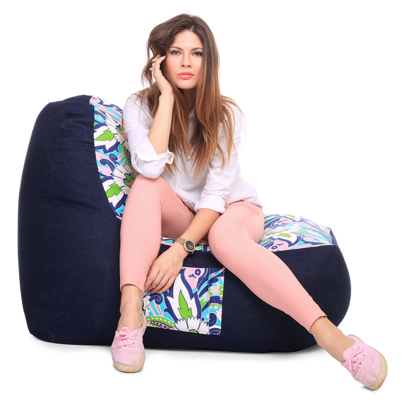 Style Homez Urban Design Denim Canvas Floral Printed Chair Bean Bag XXL Size Cover Only