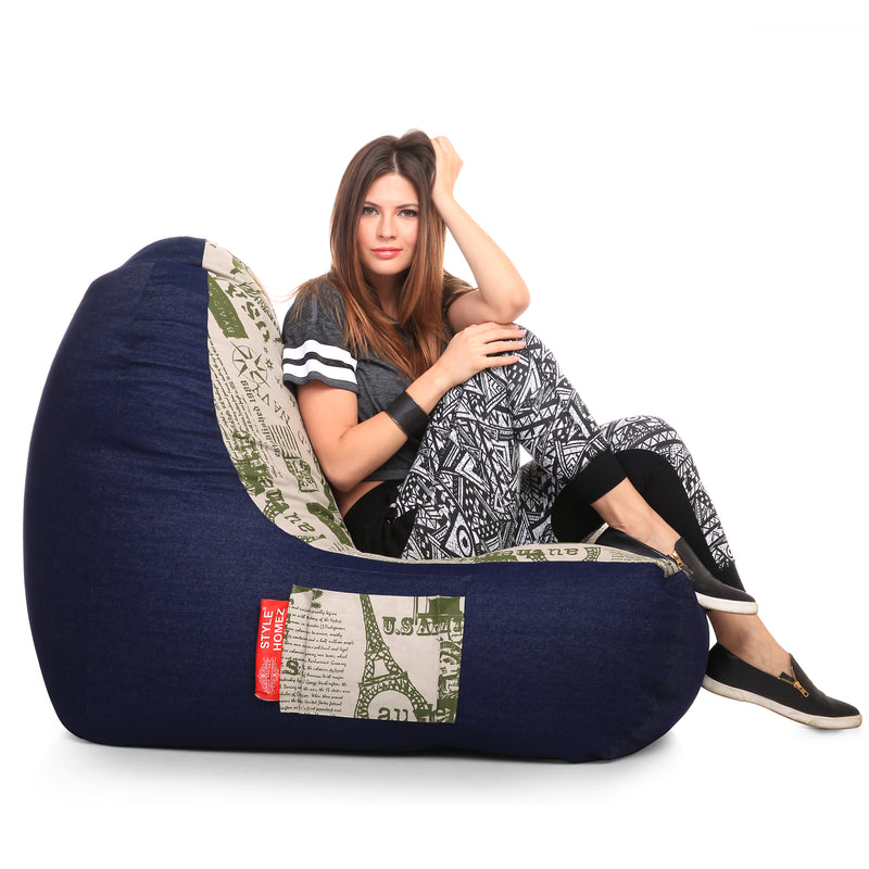 Style Homez Urban Design Denim Canvas Abstract Printed Chair Bean Bag XXL Size Cover Only