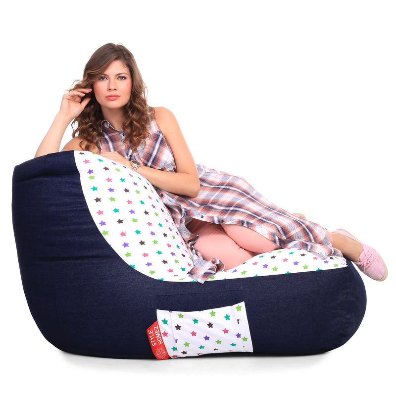 Style Homez Urban Design Denim Canvas Star Printed Chair Bean Bag XXL Size Cover Only