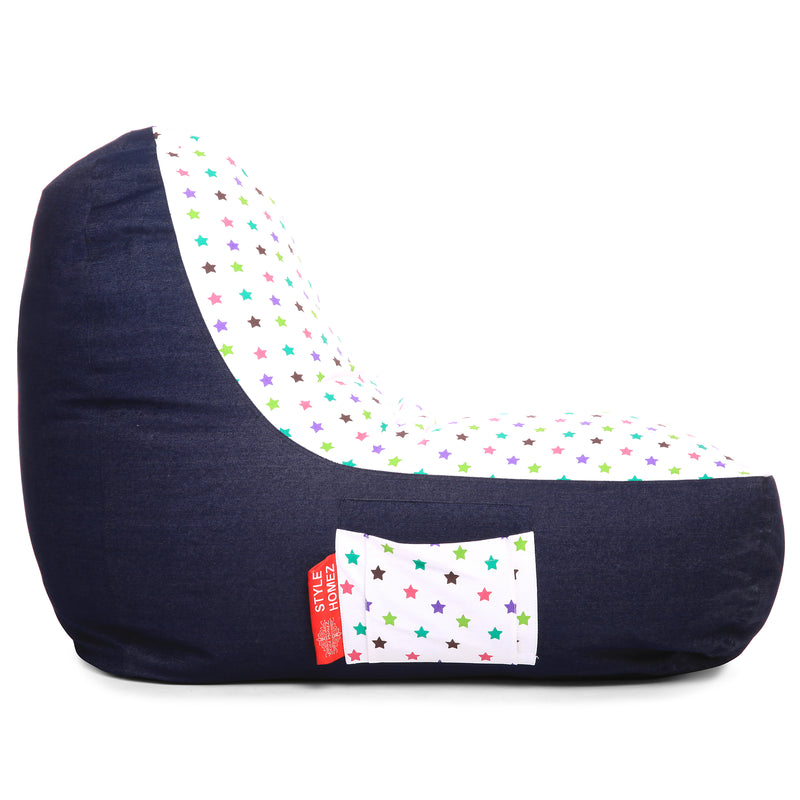 Style Homez Urban Design Denim Canvas Star Printed Chair Bean Bag XXL Size Filled with Beans Fillers
