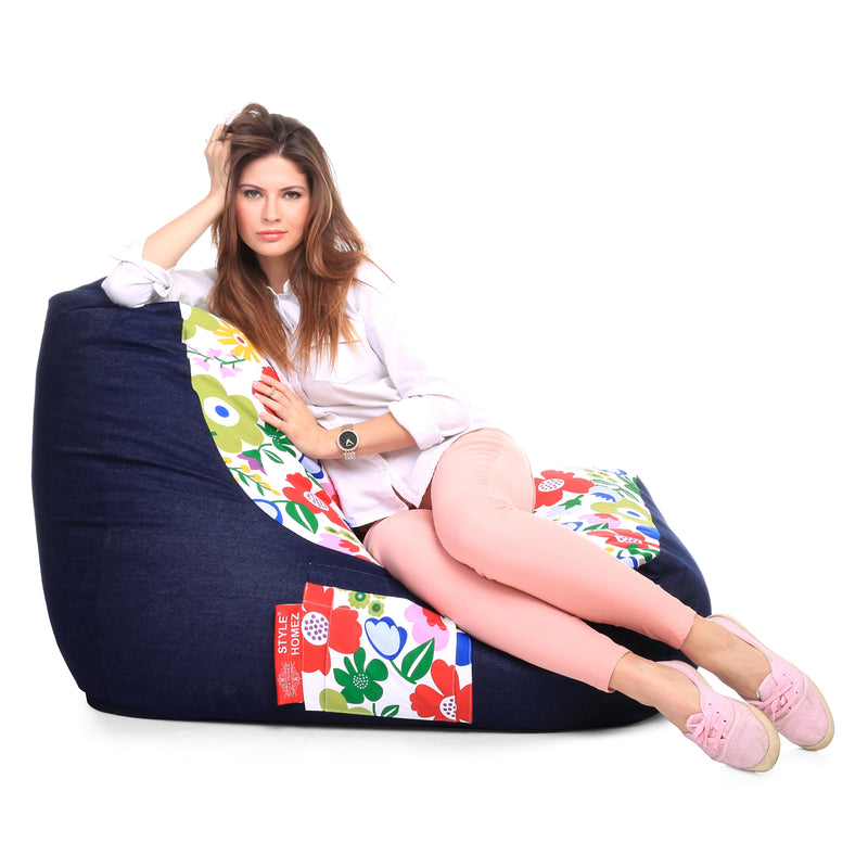 Style Homez Urban Design Denim Canvas Floral Printed Chair Bean Bag XXL Size Filled with Beans Fillers