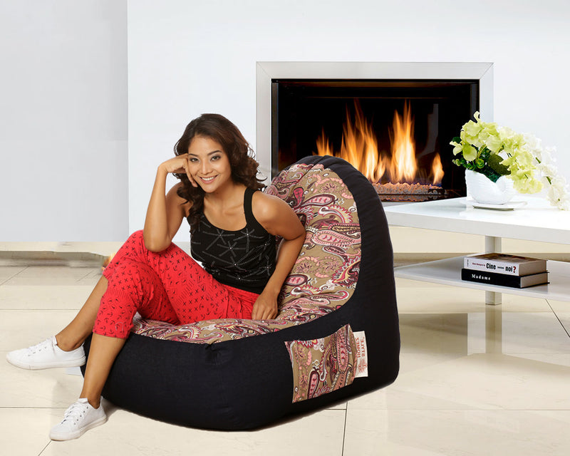 Style Homez Urban Design Denim Canvas Paisley Printed Bean Bag XXL Size Filled with Beans Fillers