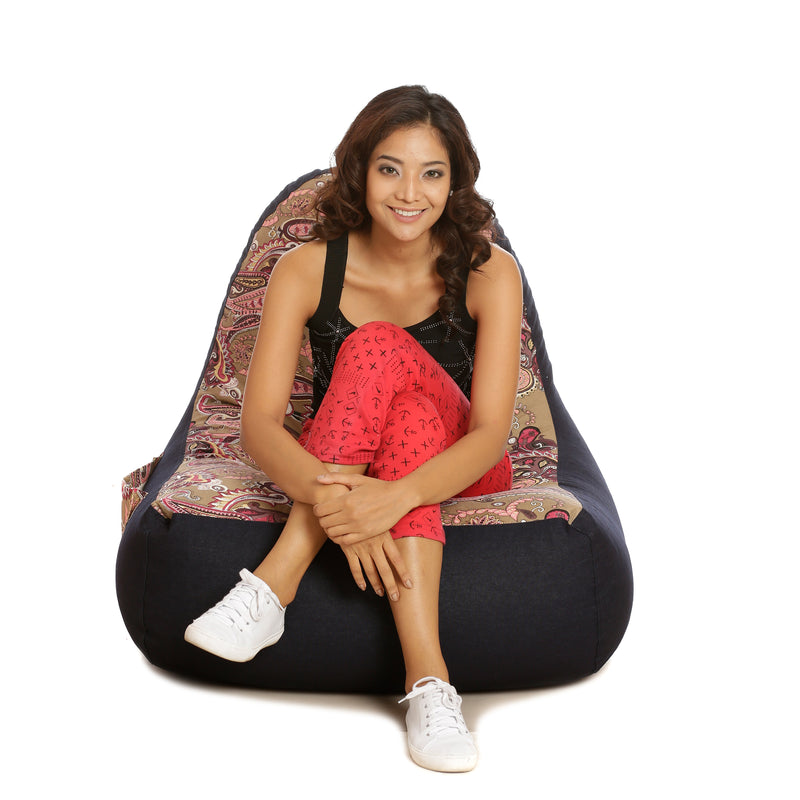 Style Homez Urban Design Denim Canvas Paisley Printed Bean Bag XXL Size Cover Only