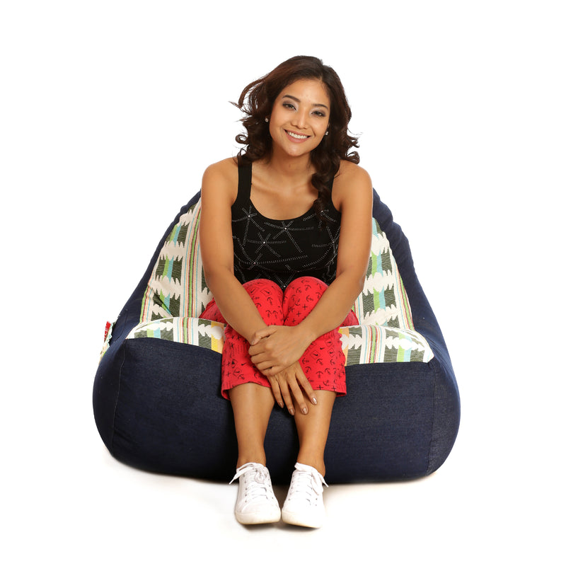 Style Homez Urban Design Denim Canvas IKAT Printed Bean Bag XXL Size Filled with Beans Fillers
