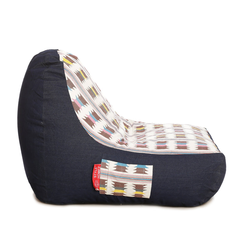 Style Homez Urban Design Denim Canvas IKAT Printed Bean Bag XXL Size Cover Only