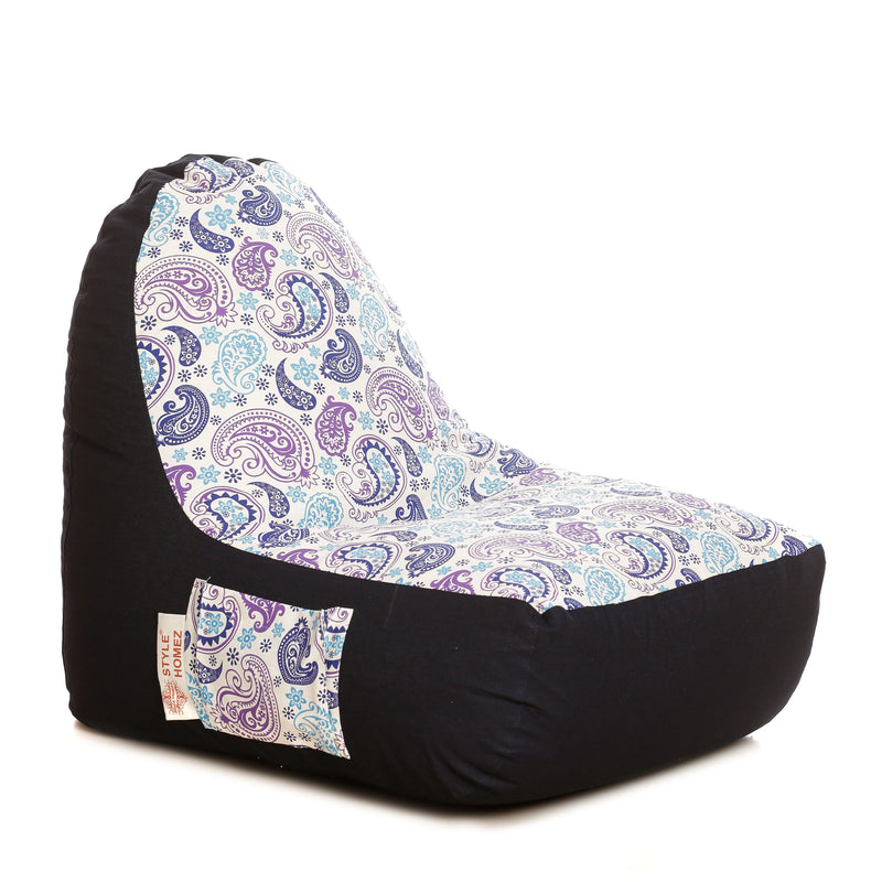 Style Homez Urban Design Denim Canvas Paisley Printed Bean BagXXL Size Filled with Beans Fillers