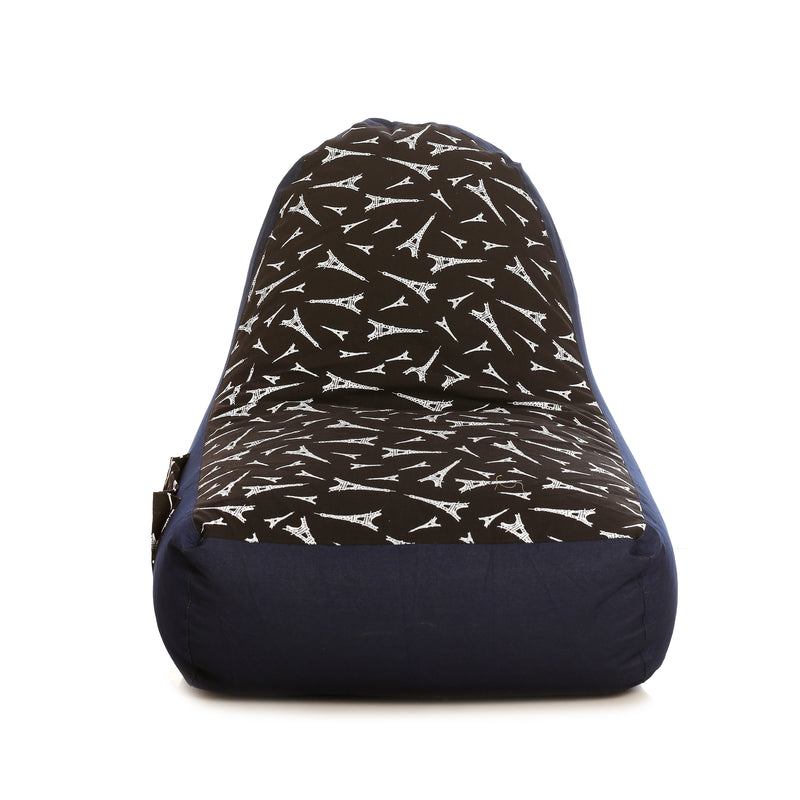 Style Homez Urban Design Denim Canvas Abstract Printed Bean Bag XXL Size Cover Only