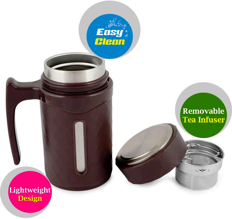 Style Homez ATLAN Double Wall Stainless Steel Vacuum Insulated Coffee Flask With Handle and Strainer Choclate Brown Color 350 ml Hot n Cold Sipper