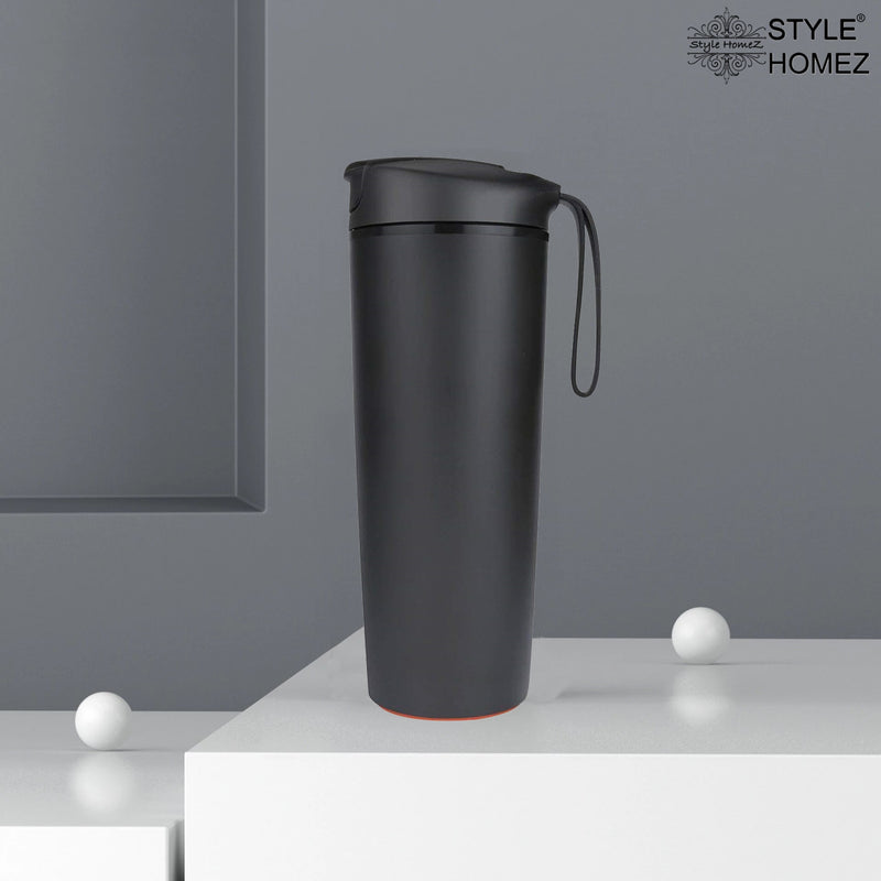 Style Homez Roche  Suction Travel Insulated Sipper Mug cum Tumbler Spill and Leak Proof 540 ml Black Color - It Won't Fall Over