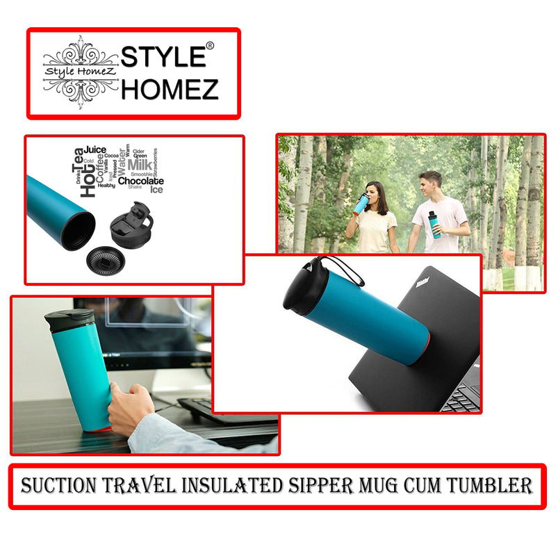 Style Homez Roche  Suction Travel Insulated Sipper Mug cum Tumbler Spill and Leak Proof 540 ml Cadet Blue Color - It Won't Fall Over