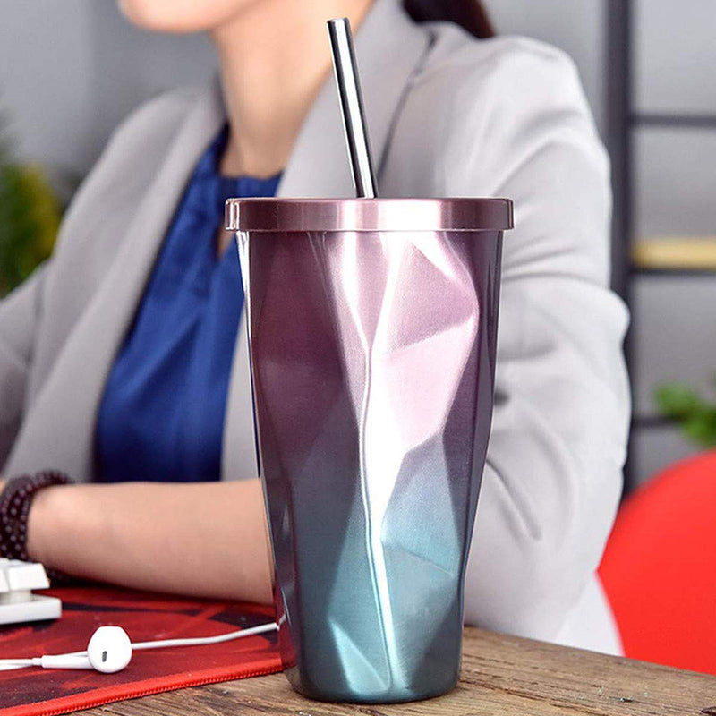 Style Homez TINTAC, Double Wall Stainless Steel Vacuum Insulated Coffee Glass Tumbler ,Dual Tone Blue Violet Color 500 ml Hot n Cold