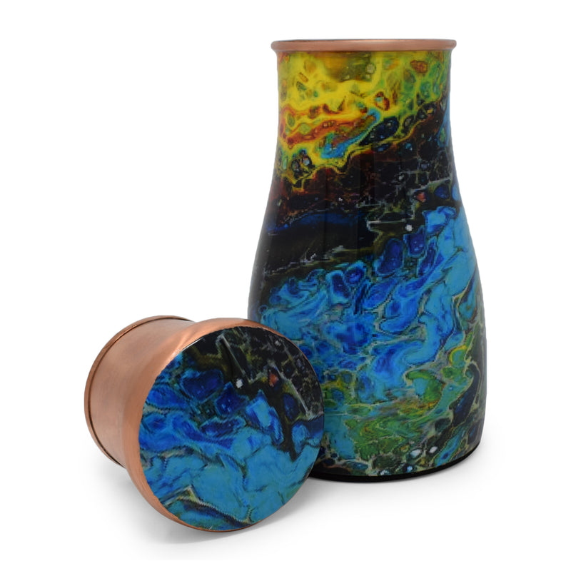 Style Homez Pure Copper Bedroom Bottle 1100 ML, Handmade Ocean Layers Meena Print Design with 200 ml Inbuilt Glass-Cum-Cap