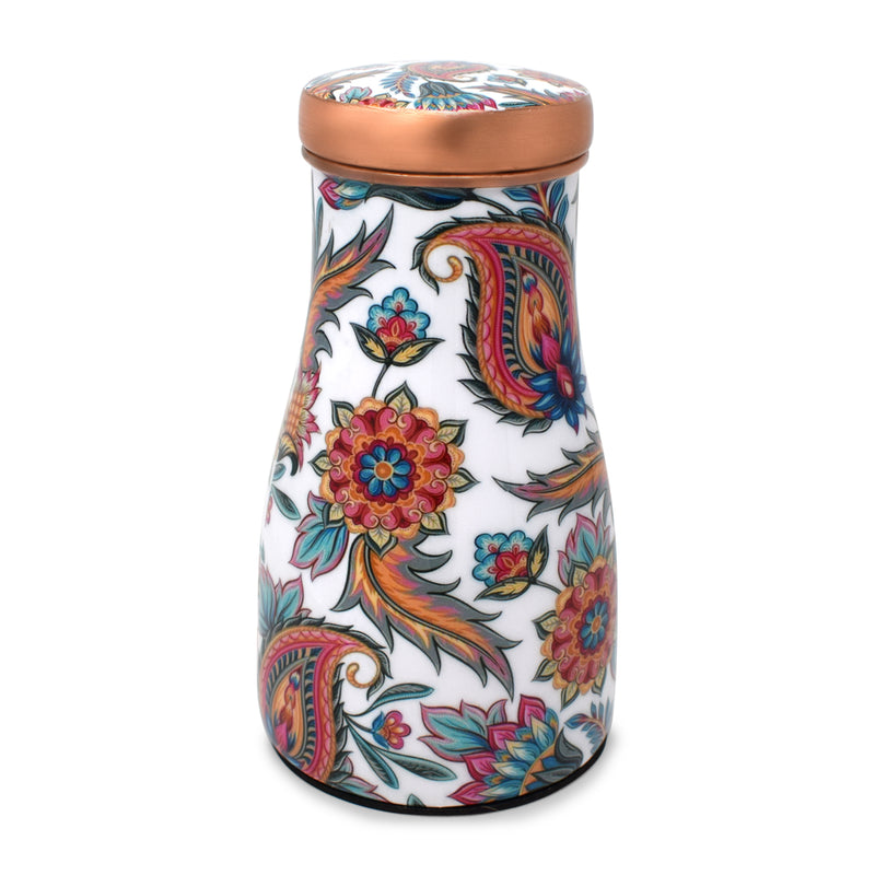 Style Homez Pure Copper Bedroom Bottle 1100 ML, Handmade Paisley Blues Meena Print Design with 200 ml Inbuilt Glass-Cum-Cap