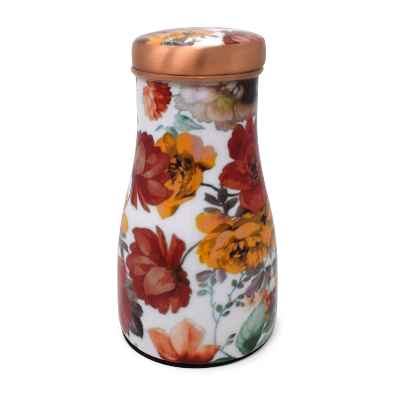 Style Homez Pure Copper Bedroom Bottle 1100 ML, Handmade Classic Red Florals Meena Print Design with 200 ml Inbuilt Glass-Cum-Cap