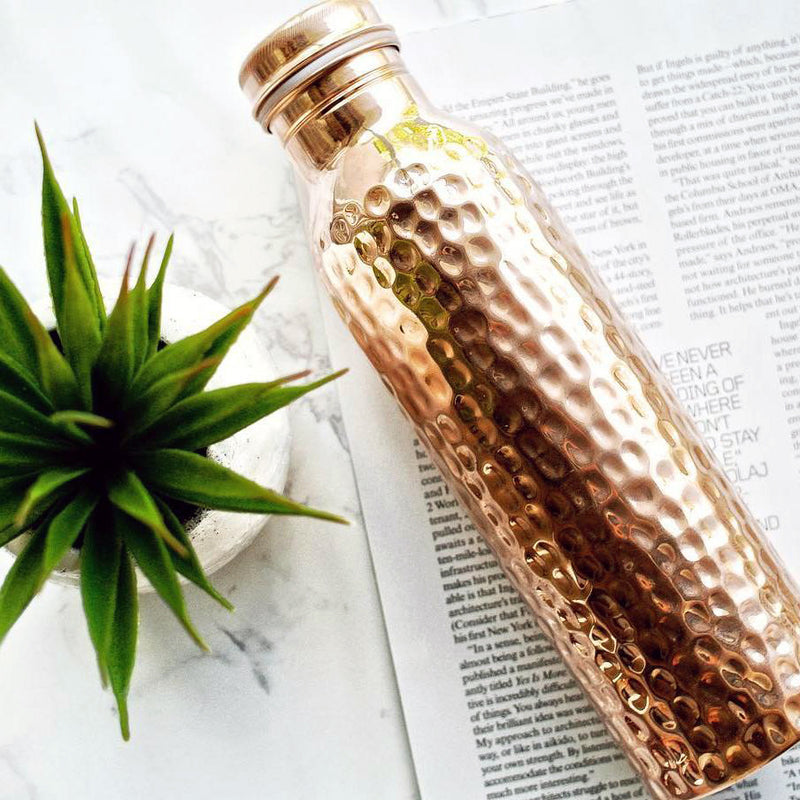 Style Homez Pure Handmade Copper Bottle 1000 ML Hammered Design Lacquer Coated Joint Free & Leak Proof with Ayurvedic Health Benefits (1 Litre)