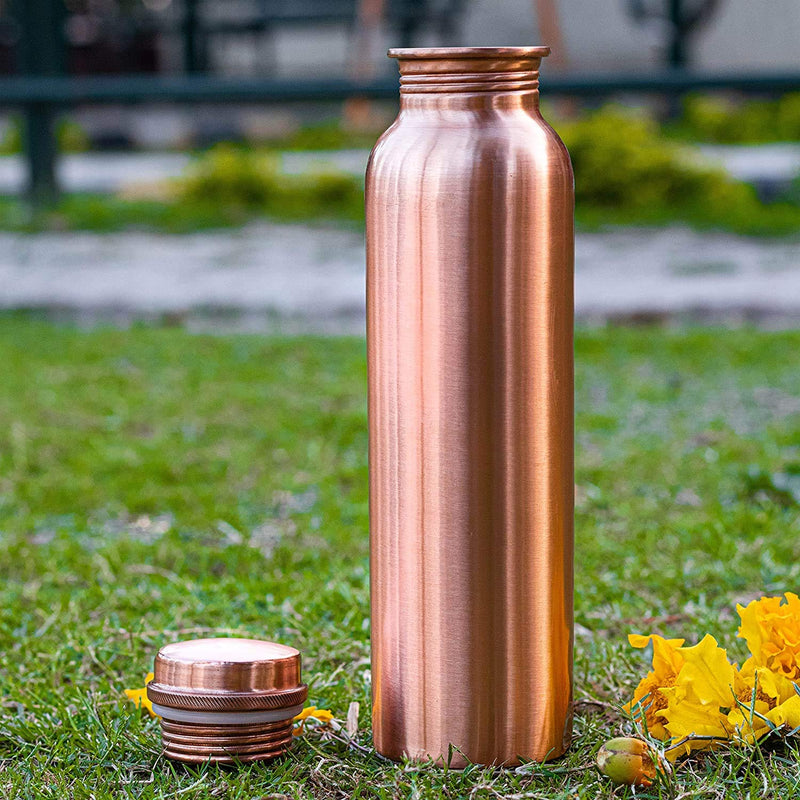 Style Homez Pure Handmade Copper Bottle, 1000 ML MATTE Finish Lacquer Coated Joint Free & Leak Proof with Ayurvedic Health Benefits (1 Litre)