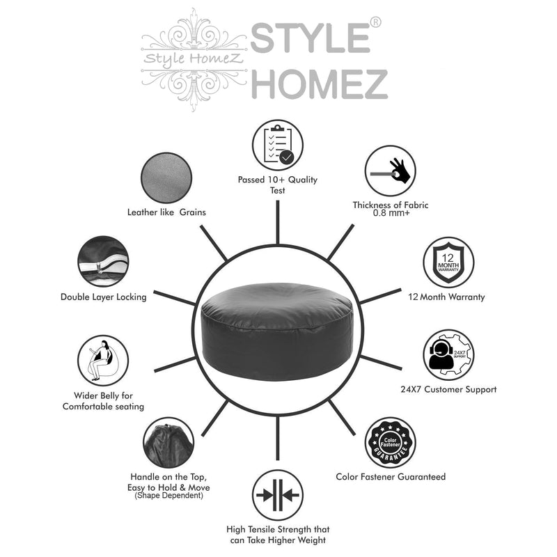 Style Homez Premium Leatherette Large Classic Round Floor Cushion Grey Color Filled with Beans Fillers