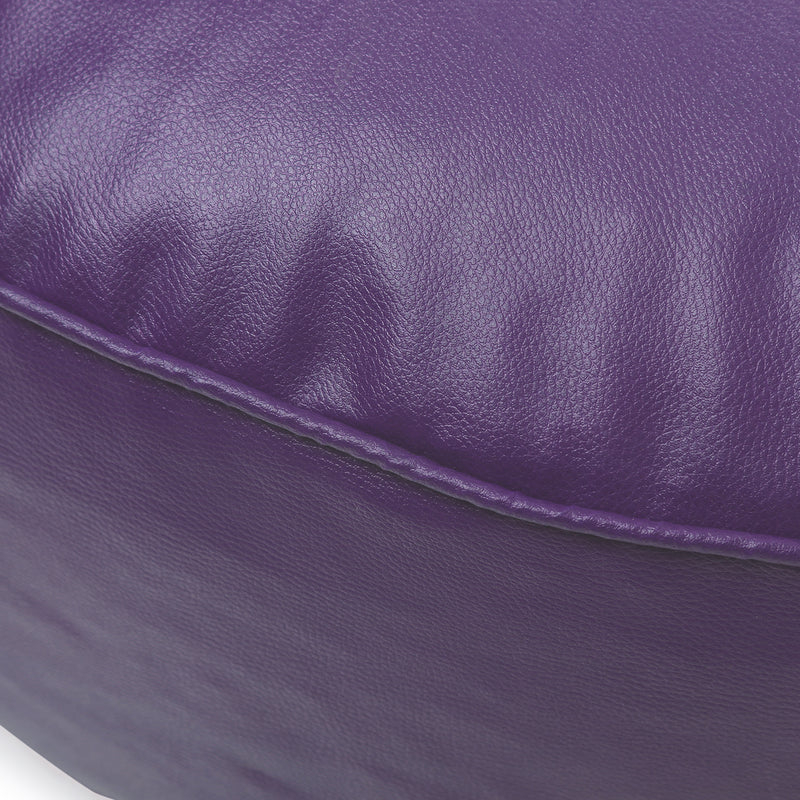 Style Homez Premium Leatherette Large Classic Round Floor Cushion Purple Color Cover Only