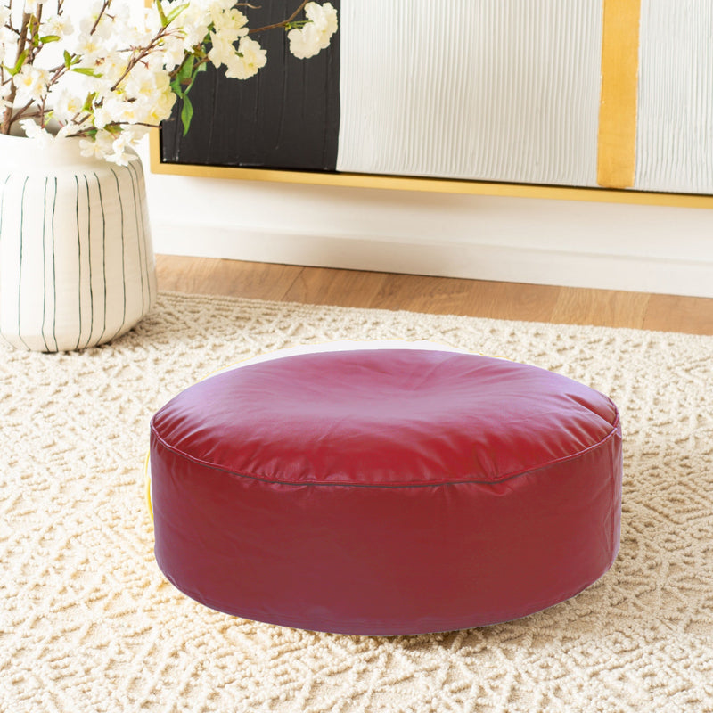 Style Homez Premium Leatherette Large Classic Round Floor Cushion Red Color Filled with Beans Fillers