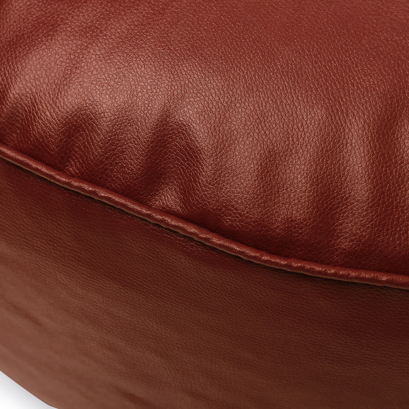 Style Homez Premium Leatherette Large Classic Round Floor Cushion Tan Color Filled with Beans Fillers