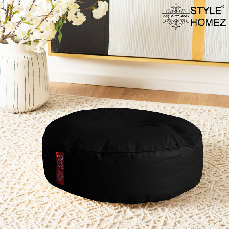 Style Homez Premium Leatherette XL Classic Round Floor Cushion Black Color, Cover Only
