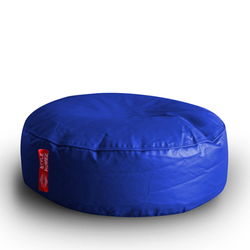 Style Homez Premium Leatherette XL Classic Round Floor Cushion Royal Blue Color, Filled with Beans Fillers