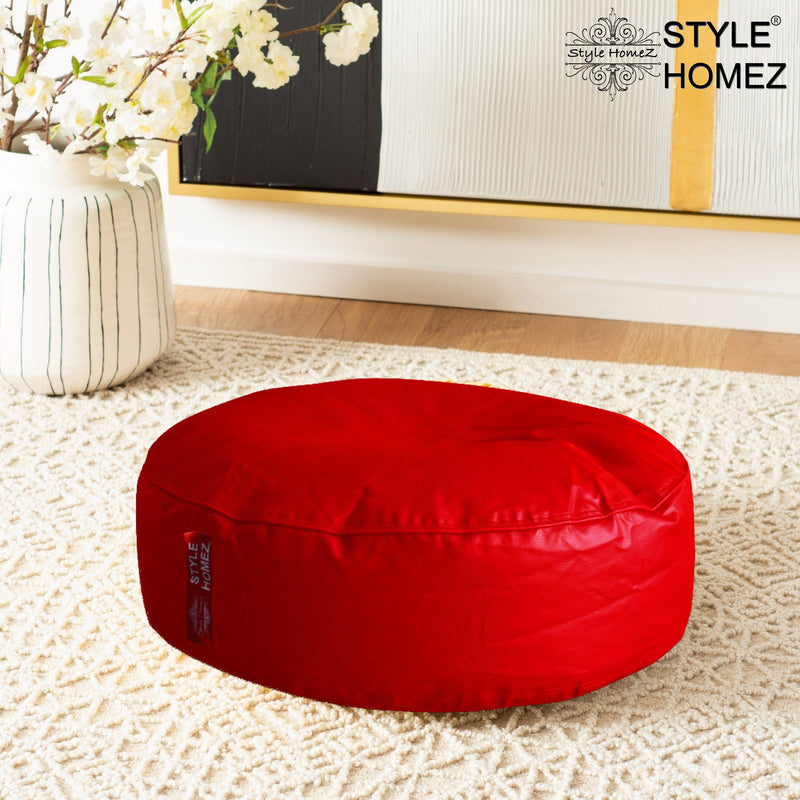 Style Homez Premium Leatherette XL Classic Round Floor Cushion Red Color, Cover Only