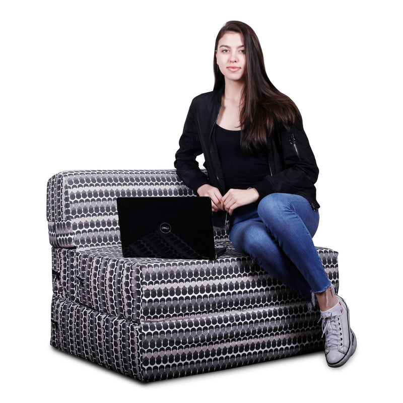 Style Homez DappeR Foldable Sofa Cum Bed, 3' x 6' Feet Premium Cotton Canvas Fabric Grey White Color Polka Dots Design