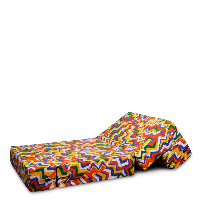 Style Homez DappeR Foldable Sofa Cum Bed, 3' x 6' Feet Premium Cotton Canvas Fabric Orange Yellow Multi-Color Geometric Design
