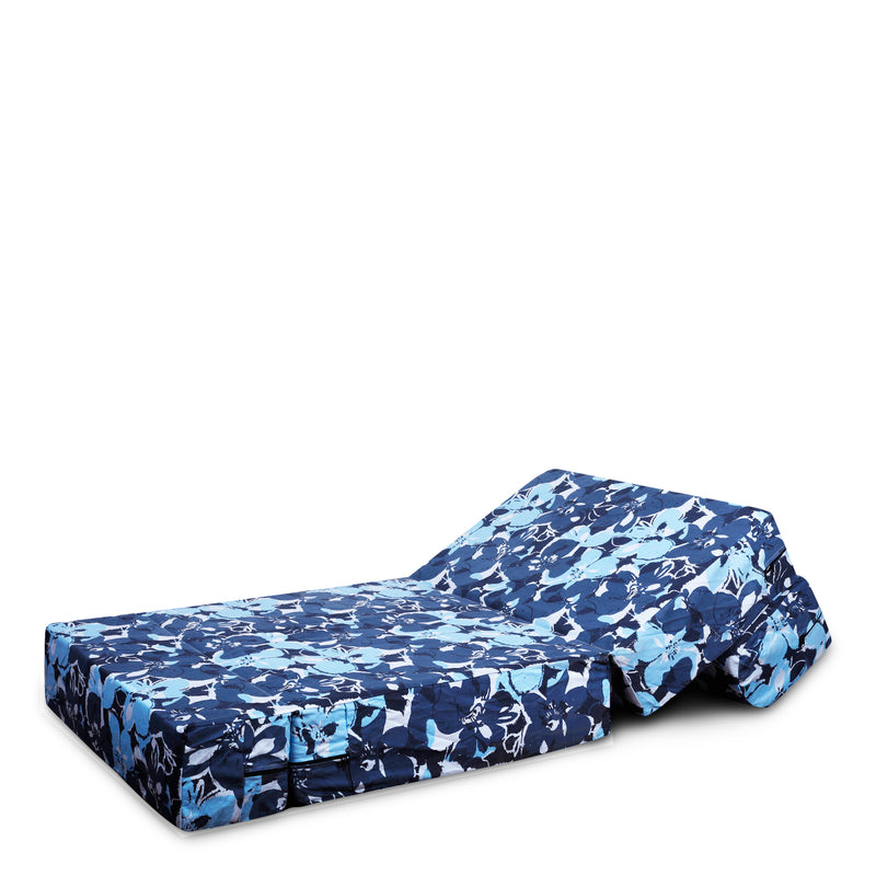 Style Homez DappeR Foldable Sofa Cum Bed, 3' x 6' Feet Premium Cotton Canvas Fabric Blue Camouflage Design