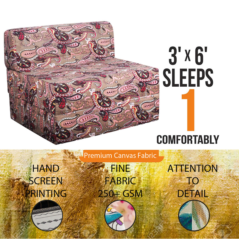 Style Homez DappeR Foldable Sofa Cum Bed, 3' x 6' Feet Premium Cotton Canvas Fabric Milti-Color Paisley Design