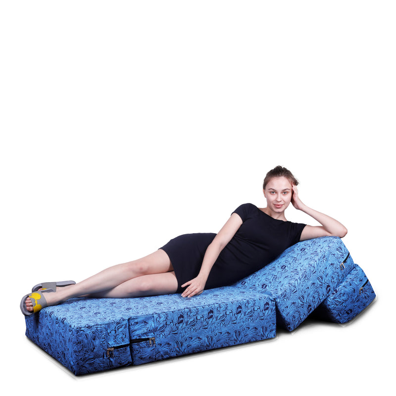 Style Homez DappeR Foldable Sofa Cum Bed, 3' x 6' Feet Premium Cotton Canvas Fabric Stone Blue Black Abstract Design