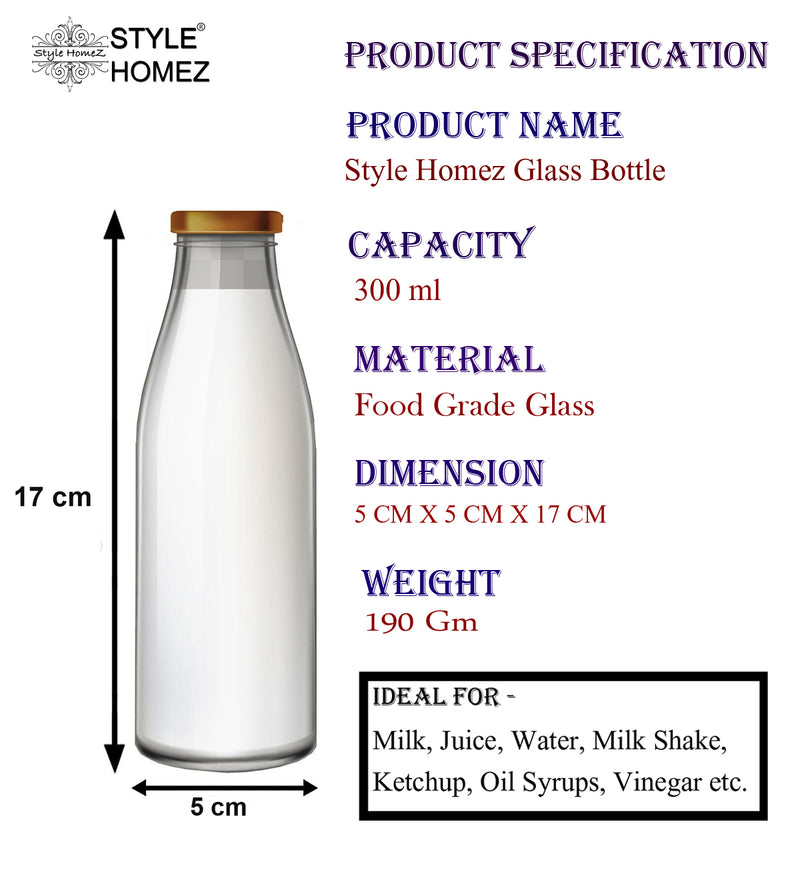 Style Homez Milk, Juice and Water Bottle with Air Tight Rust Proof Cap, Capacity 300 ml (0.3 Litre), 1 Bottle