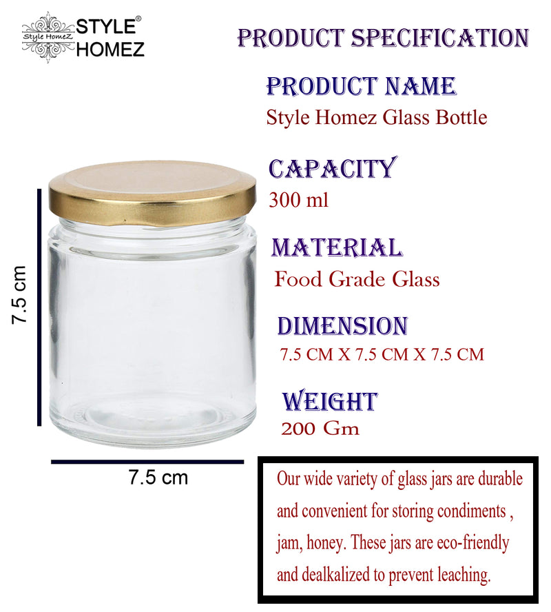 Style Homez Glass Jar with Metal Golden Color Lid Air Tight Rust Proof Cap Capacity 300 ML or 150 Grams 4 pcs