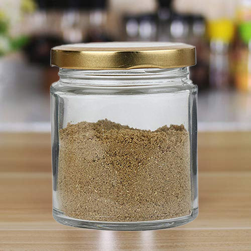 Style Homez Glass Jar with Metal Golden Color Lid Air Tight Rust Proof Cap Capacity 300 ML or 150 Grams 6 pcs