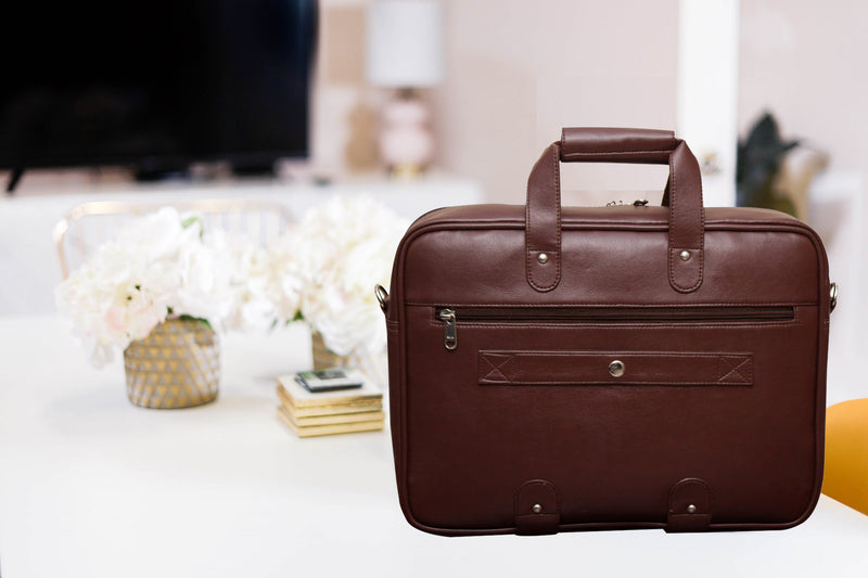 "Style Homez Premium PU Leather Executive Laptop Briefcase Bag 15.6"", Peacan Brown Color"