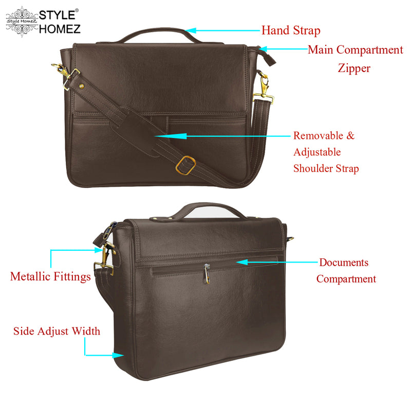 "Style Homez Stylish PU Leather Executive Laptop Bag 15.6"", Metal Brown Color"