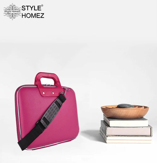 "Style Homez Stylish Unisex Hard Shell Briefcase Pink Laptop Bag with Strap for 14"" Laptop"