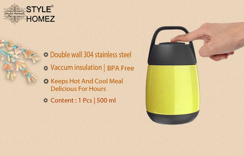 Style Homez KOALA Thermosteel 304 Stainless Steel Insulated Food Jar with Handle Hot & Cold PEAR Green Color 500 ml