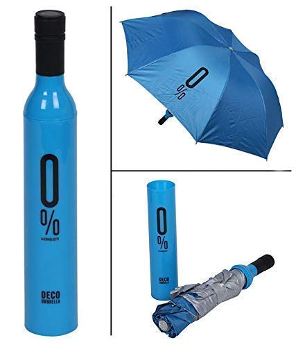 Style Homez 3 Fold Stylish Bottle Umbrella, Blue Black Color 110 cm