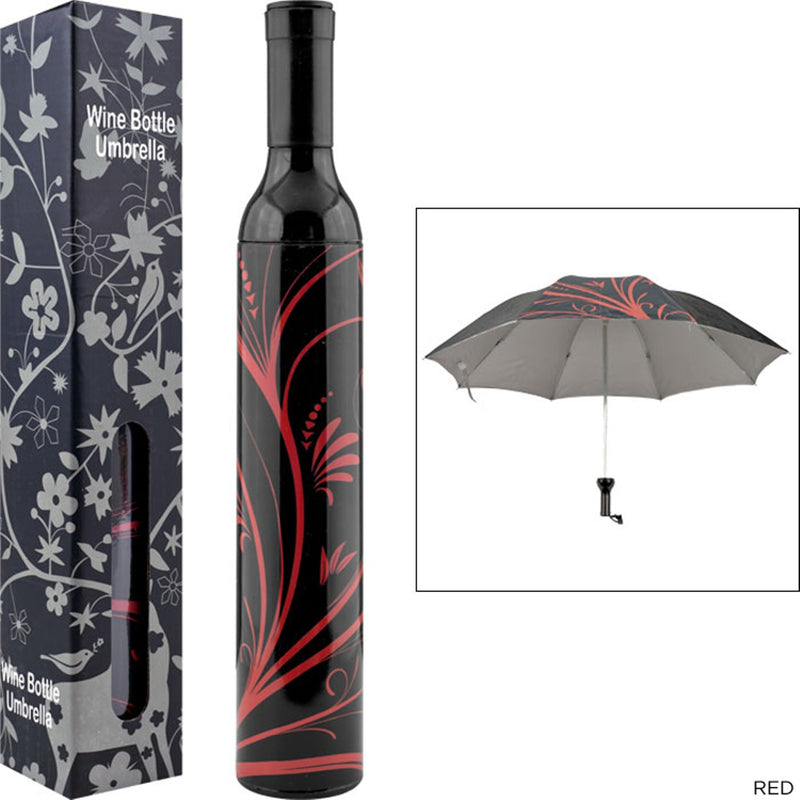 Style Homez 3 Fold Stylish Bottle Umbrella, Black Red Color 110 cm