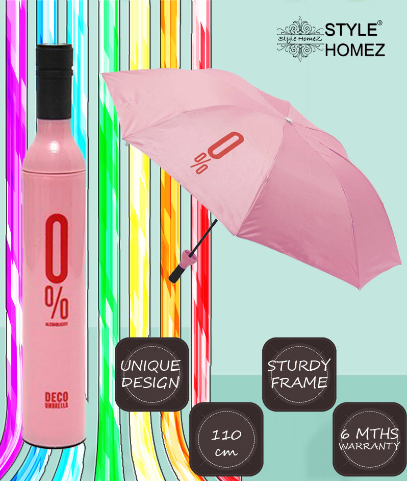 Style Homez 3 Fold Stylish Bottle Umbrella, Pink Black Color 110 cm