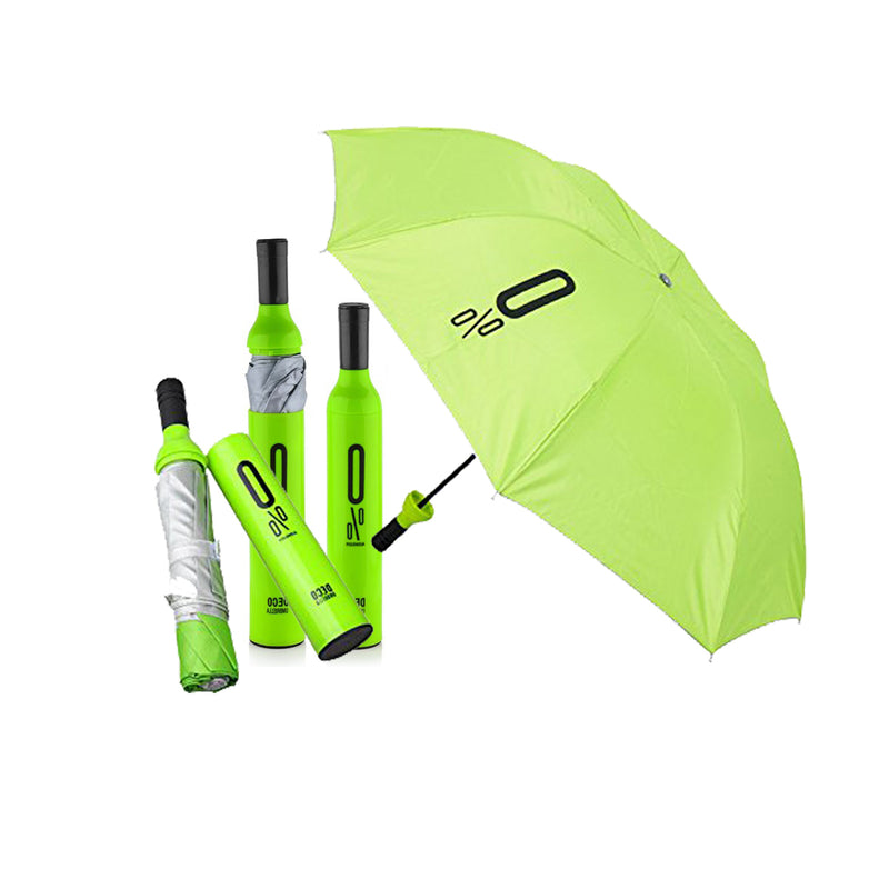 Style Homez 3 Fold Stylish Bottle Umbrella, Green Black Color 110 cm