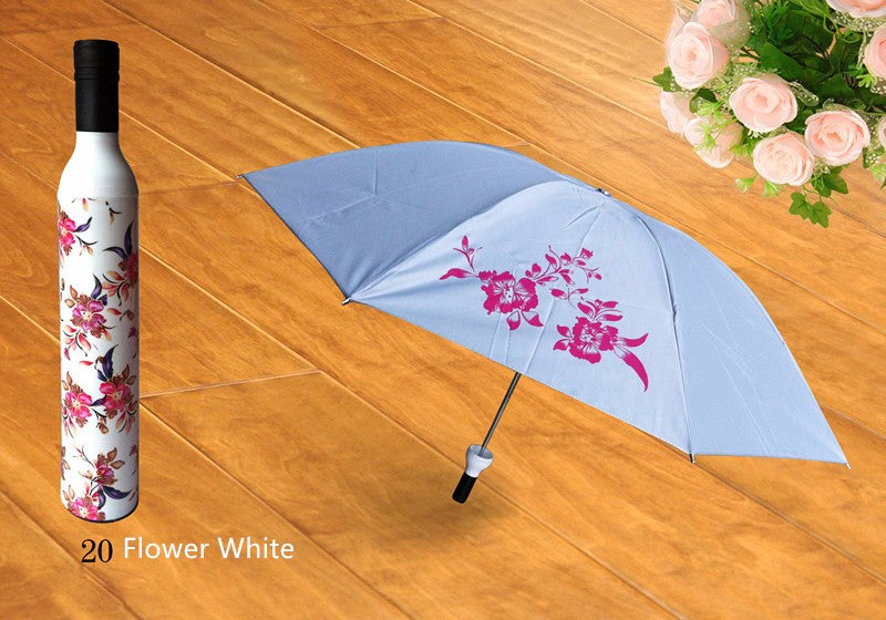 Style Homez 3 Fold Stylish Bottle Umbrella, White Red Color 110 cm