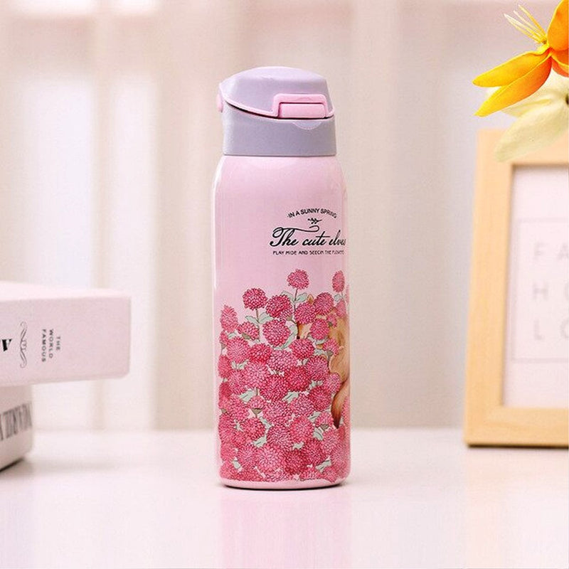 Style Homez EVA, Double Wall Stainless Steel Vacuum Insulated Sipper Bottle With Straw,Baby Pink Color 480 ml Hot n Cold
