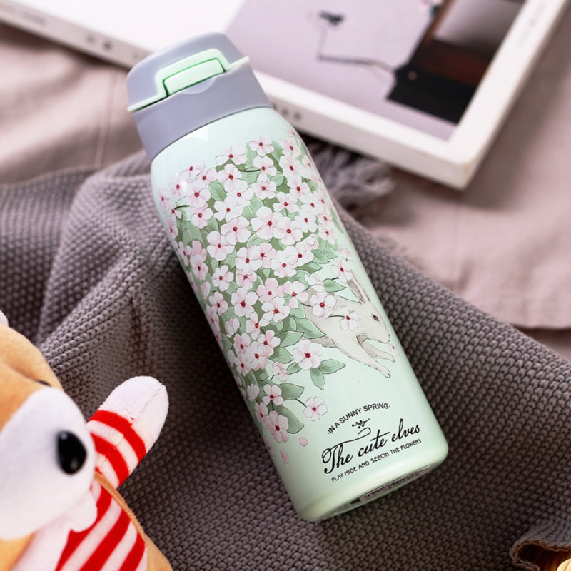 Style Homez EVA, Double Wall Stainless Steel Vacuum Insulated Sipper Bottle With Straw, Mint Green Color 480 ml Hot n Cold
