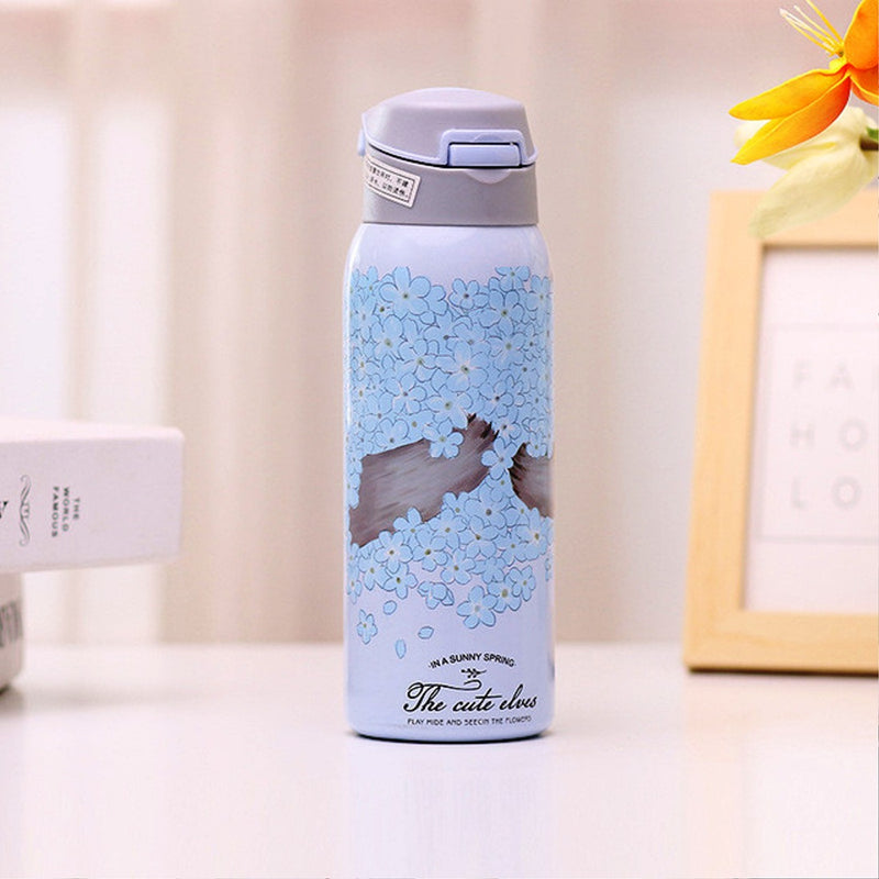 Style Homez EVA, Double Wall Stainless Steel Vacuum Insulated Sipper Bottle With Straw, Cadet Blue Color 480 ml Hot n Cold
