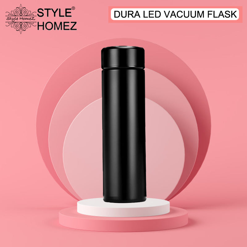 Style Homez DURA Smart Double Wall Stainless Steel Vacuum Insulated Water Bottle With LED Touch Display Hard Black Color 480 ml Hot n Cold