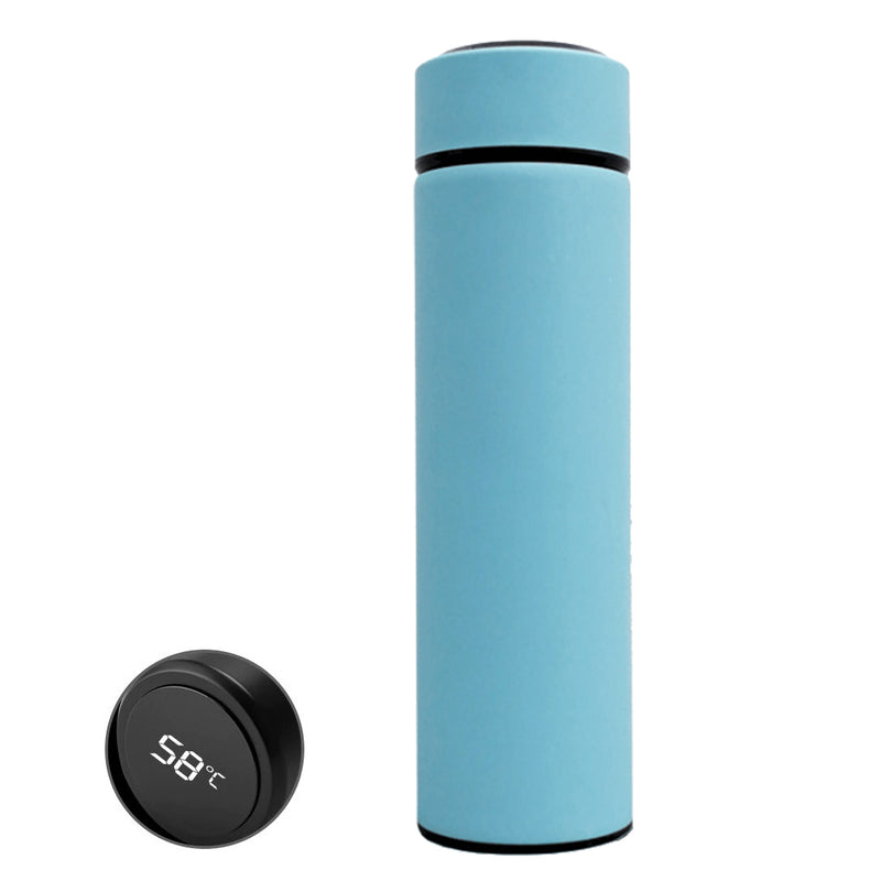 Style Homez DURA Smart Double Wall Stainless Steel Vacuum Insulated Water Bottle With LED Touch Display Naïve Blue Color 480 ml Hot n Cold